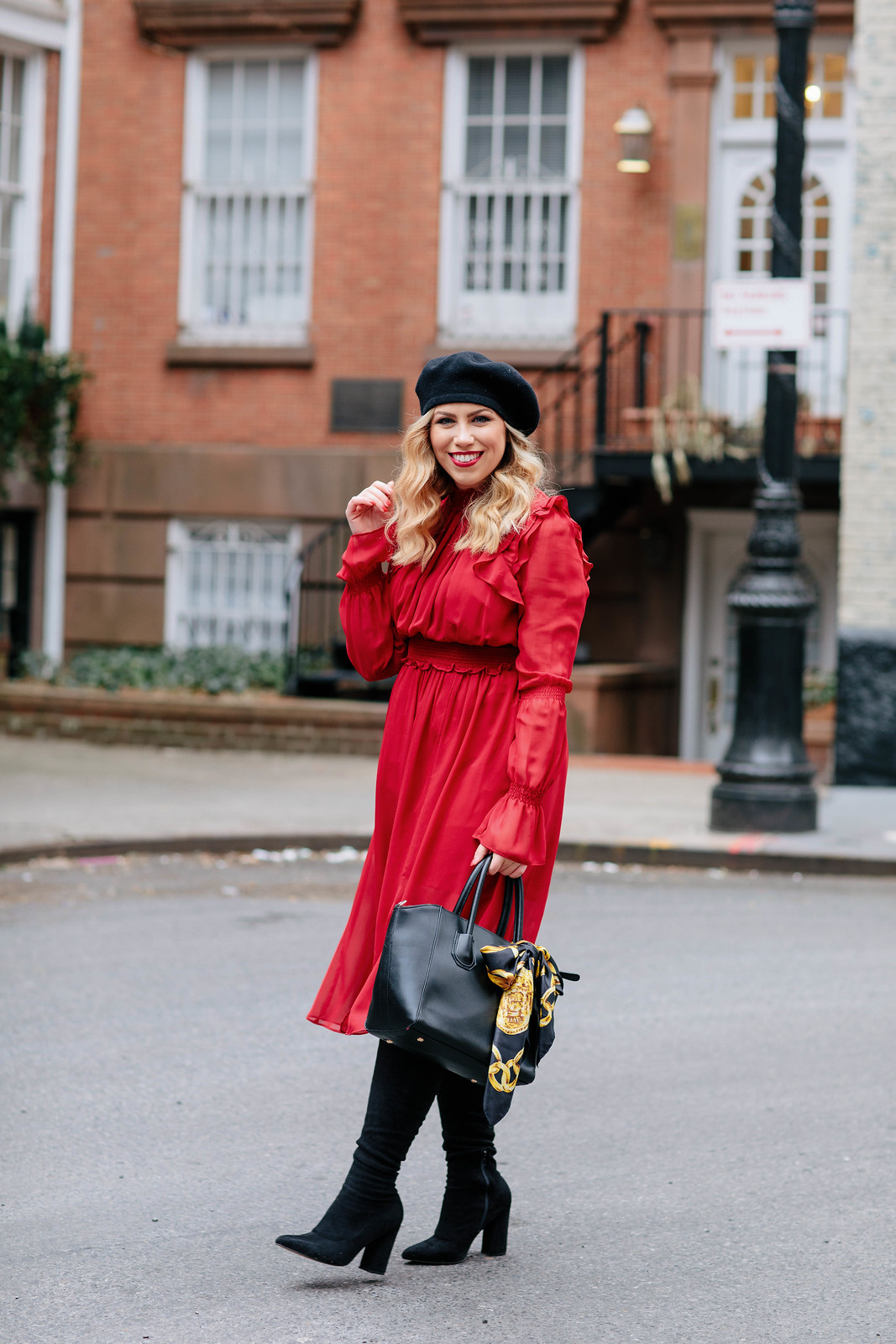 Outfit Inspiration Winter Red Midi Ruffle Dress Black Satchel Black Boots Beret