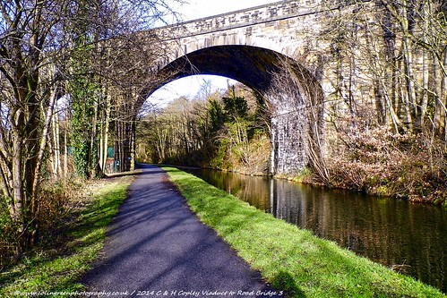 Copley Viaduct to the Road Bridge on the Calder & Hebble Canal.