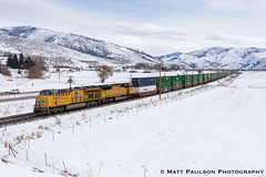 Eastbound stack train through Stoddard, UT