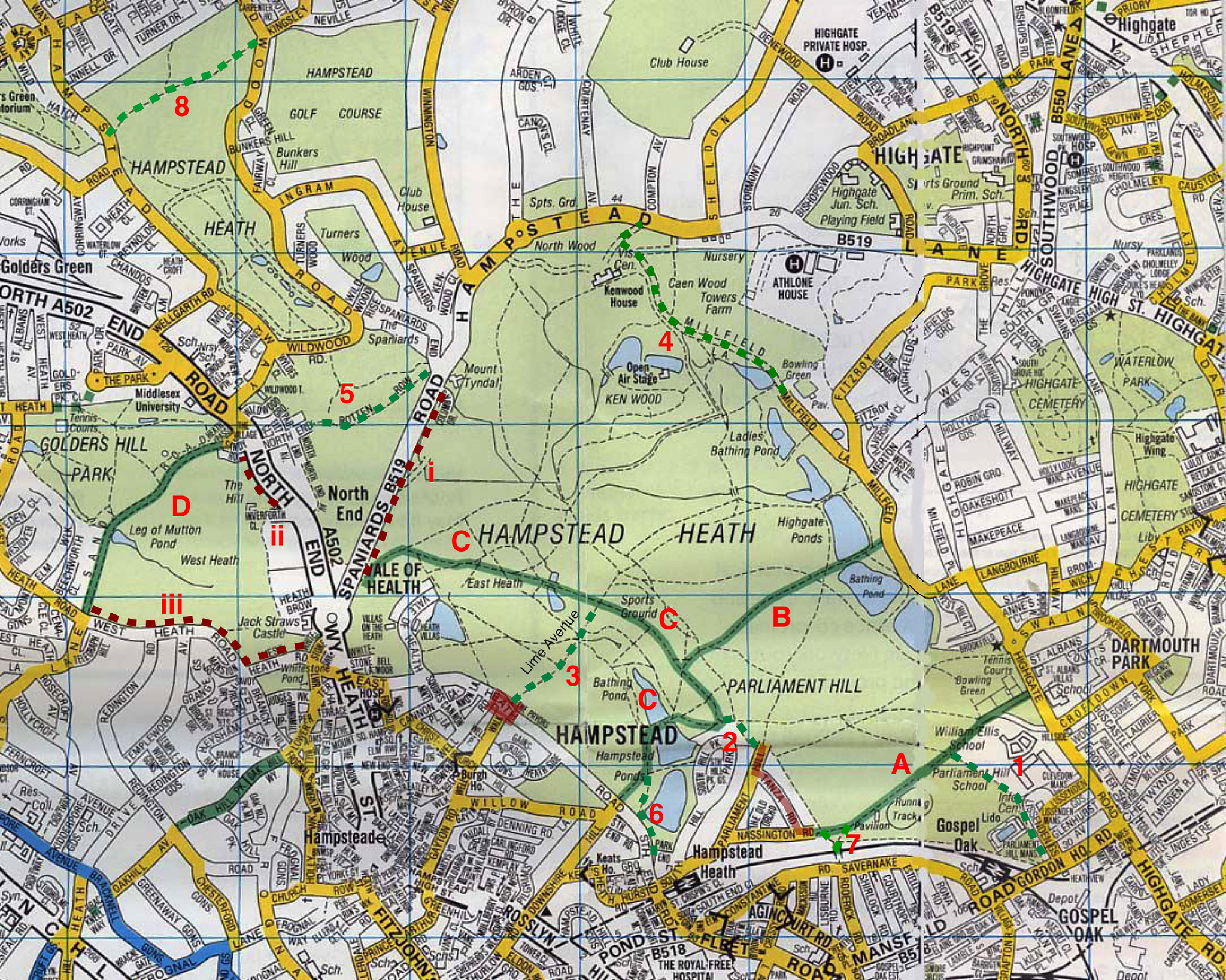 Hampstead Heath Map Hampstead Heath Hampstead Heath Map