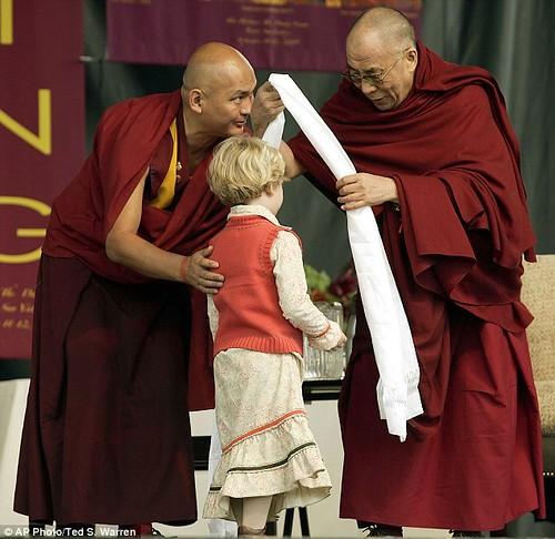 Dalai Lama with Lama Tendzin Dhondep via Daily Mail