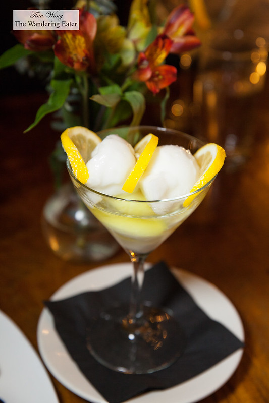 Limoncello sorbet with limoncello syrup