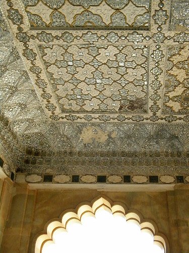 Mirror and plaster ceiling in Amber Palace and Fort near Jaipur in India