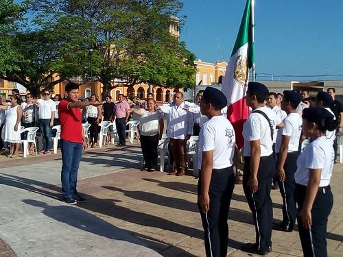 Participación en homenaje cívico del Ayuntamiento de Motul por el Día de la Bandera