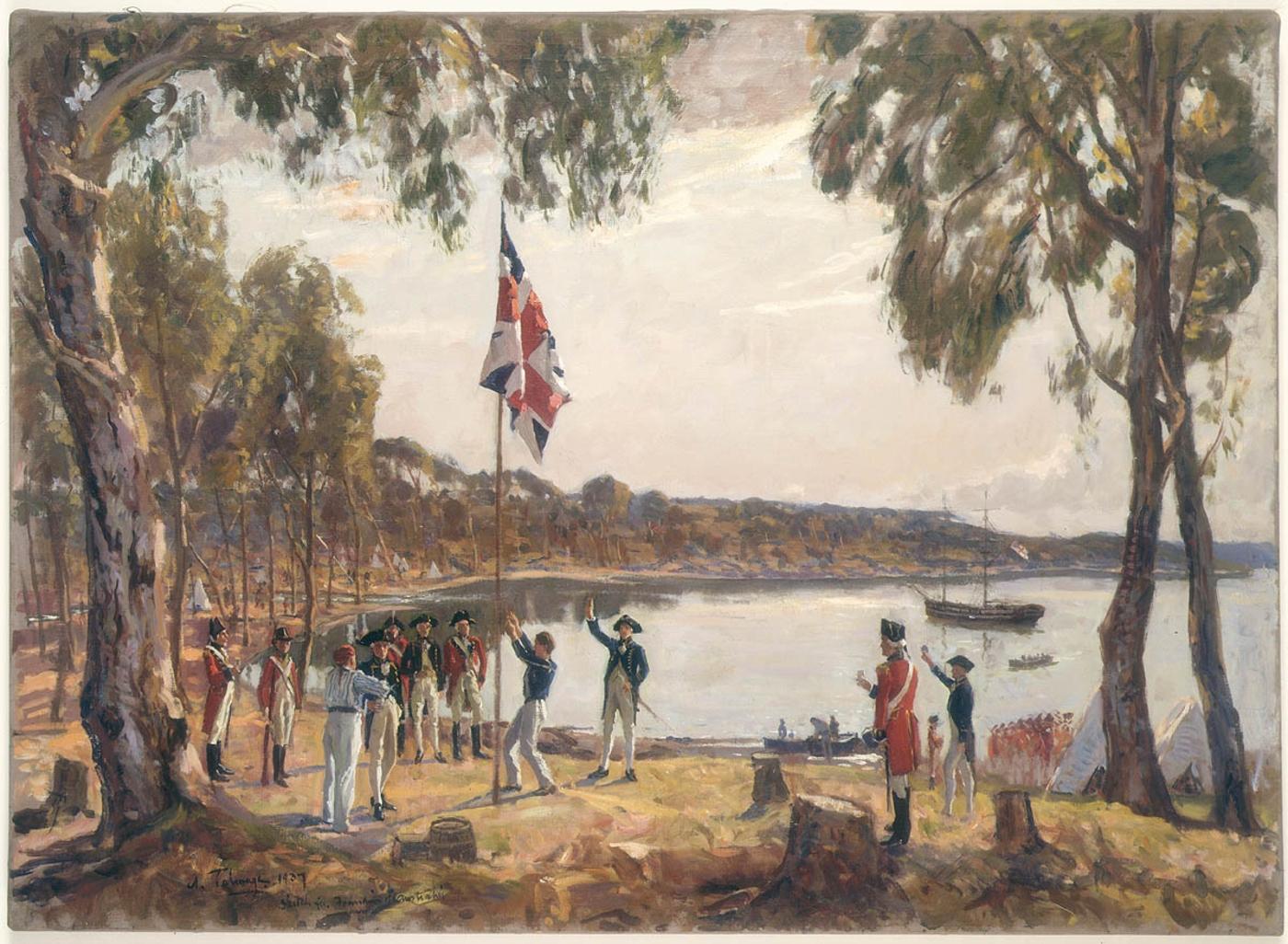 The Founding of Australia. By Capt. Arthur Phillip R.N. Sydney Cove, Jan. 26th 1788. Oil sketch by Algernon Talmage, 1937.