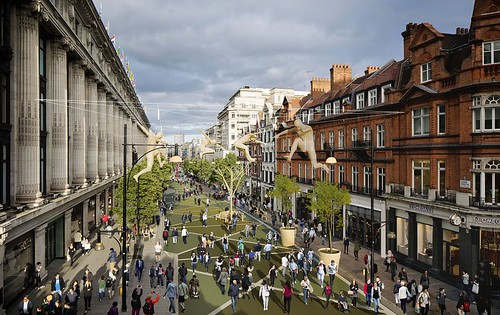 Rendering, pedestrianized Oxford Street, London