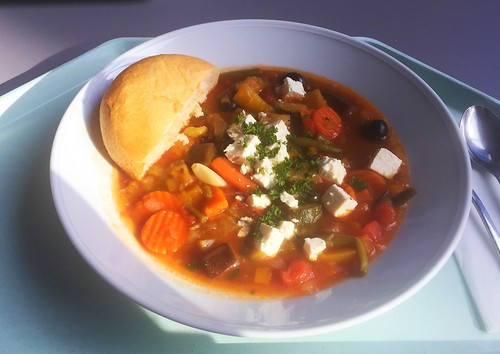 Greek vegetable stew with feta & olives / Griechischer Gemüseeintopf mit Hirtenkäse & Oliven