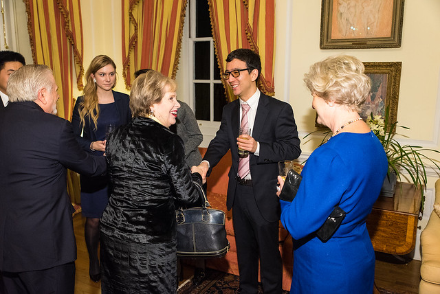 ISH Resident Scholars Jiawei and Antonia Greeting James Gale, Lisa Barry, adn Ambassador Michele Bond - 2017 Tribute Dinner at the British Ambassador's Residence