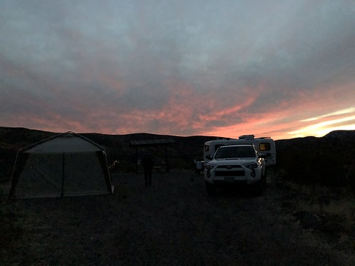 Gila box campsite at sunset