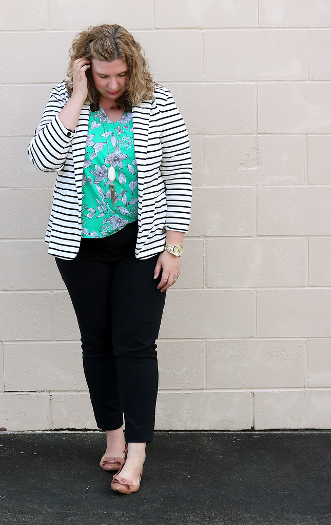black and white stripe blazer, green floral shell, black pencil pants, bow flats 4
