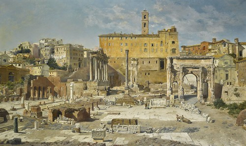 "ROMA ARCHEOLOGICA & RESTAURO ARCHITETTURA: Orazio Marucchi, ""Recent Excavations in Rome,"" The American Journal of Archaeology, Vol. 2., No. 3 (July - Sept., 1886), pp. 334-41 [PDF]. Painting: ""The Roman Forum,"" by: V.M. Herwegen-Manini, MUNCHEN (1886)."