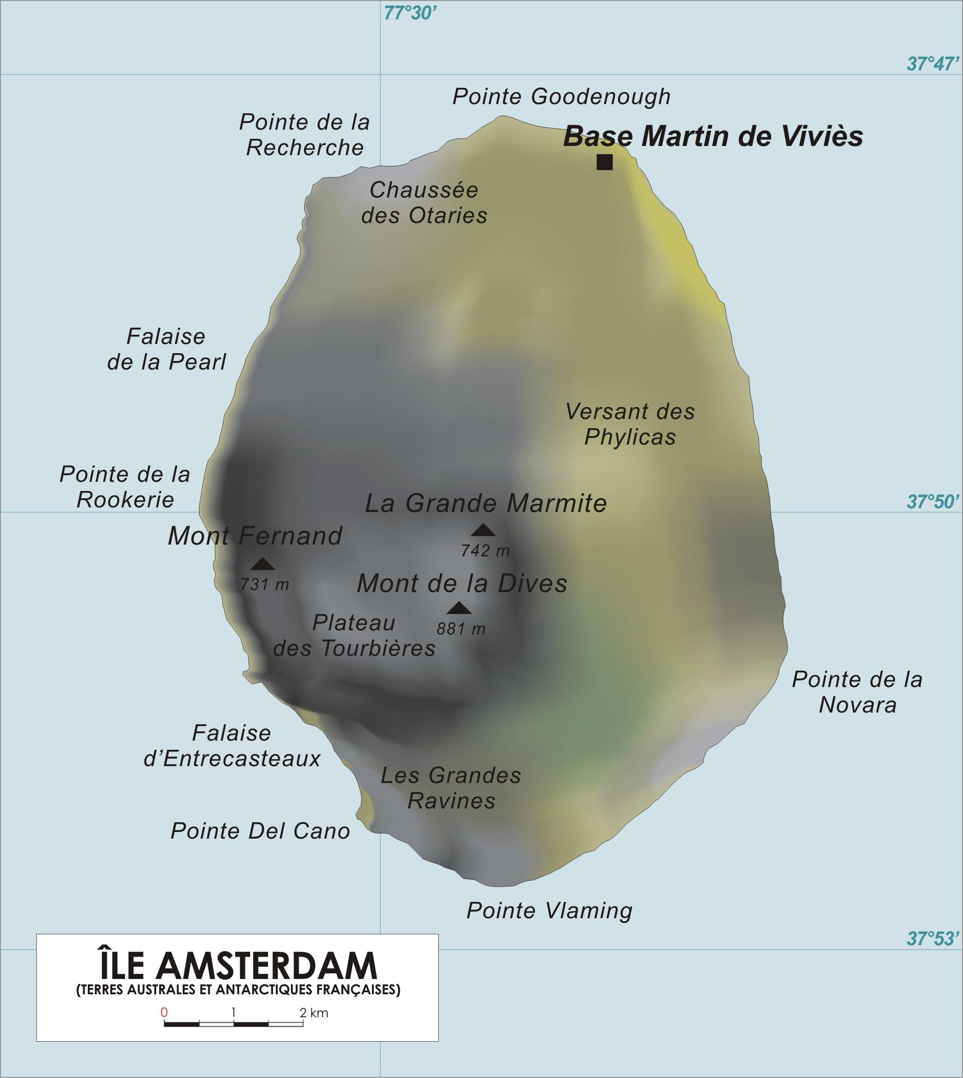 Map of Amsterdam Island