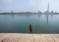 North Korean man fishing in Taedong river, Pyongan Province, Pyongyang, North Korea