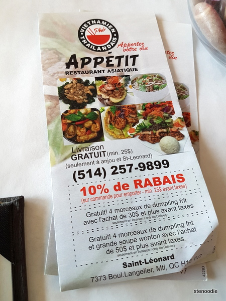 Appetit Restaurant Asiatique take-out menu