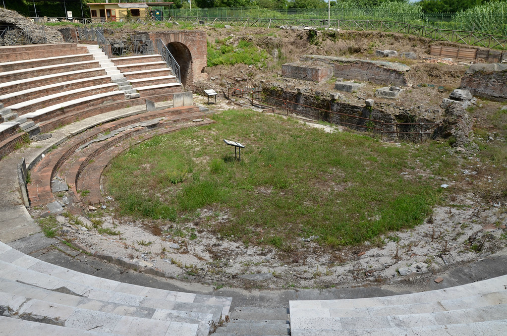The remains of the Roman Theatre of Teanum, built in the 2nd century BC and rebuilt in the second quarter of the  2nd century AD, Teano, Italy