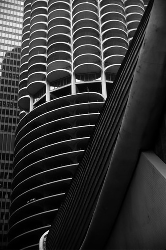 Marina City, Chicago - Kodachrome - 1987 (BW)