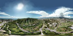 A view from Le'ahi Millennium Peace Circle Garden on the Northern slope of the Diamond Head Crater (Le'ahi) shot from my DJI Mavic Pro hovering 394 feet up - an aerial 360 Equirectangular VR