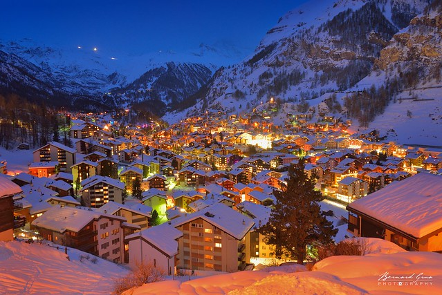 Blue hour on snowy Zermatt © Bernard Grua