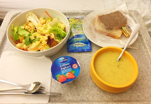 Potato soup & Salad cheese dish / Kartoffelsuppe & Salat-Käse-Teller