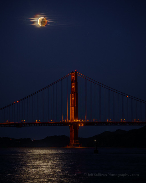 Lunar Eclipse Over the Golden Gate Bridge