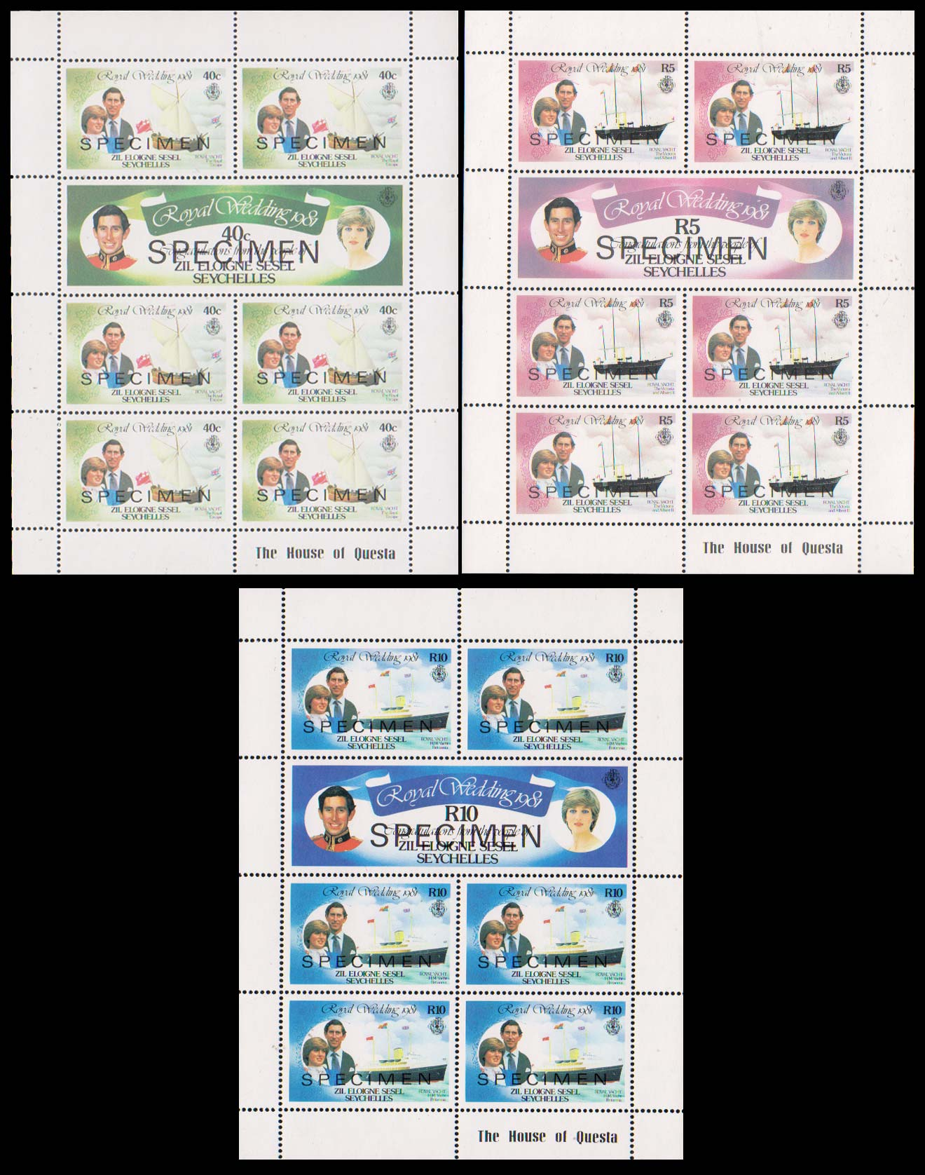 SAMPLE sheets of Zil Elgwannen Sesel 1981 Royal Wedding stamps.