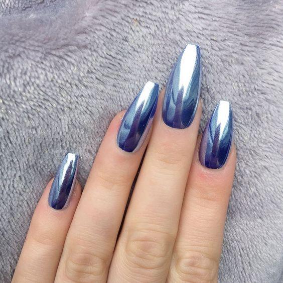 Beautiful Long Acrylic Chrome Nails 2018 - Fashionre