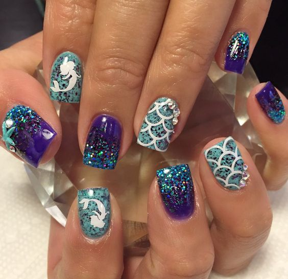 Mermaid Nail Art Adorable: Best 50+ Mermaid Acrylic Nails On Trend This Year
