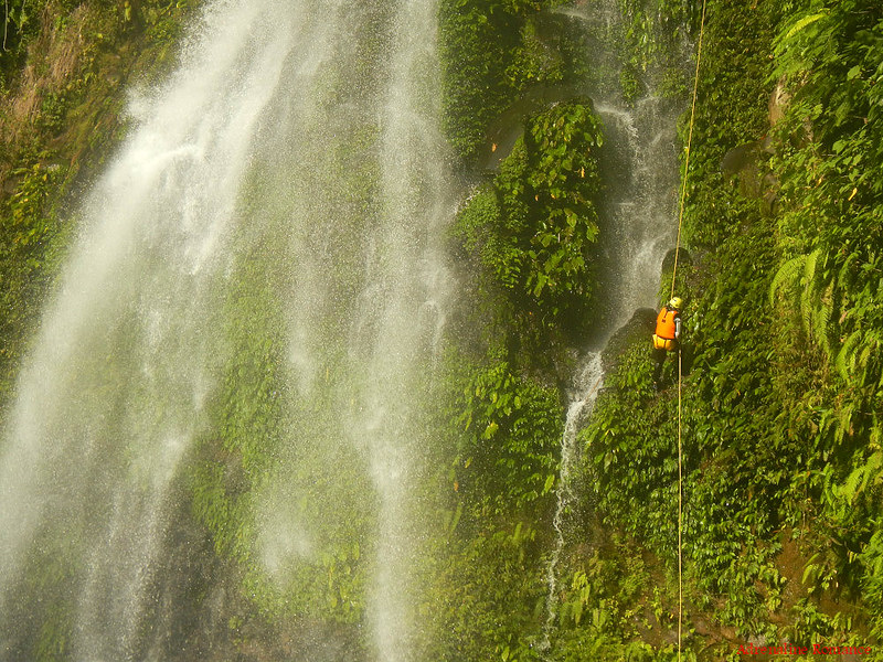 Rappelling down Ulan-ulan Falls