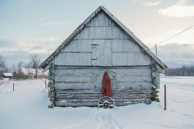 Old building and patterns of Kihnu island in Estonia