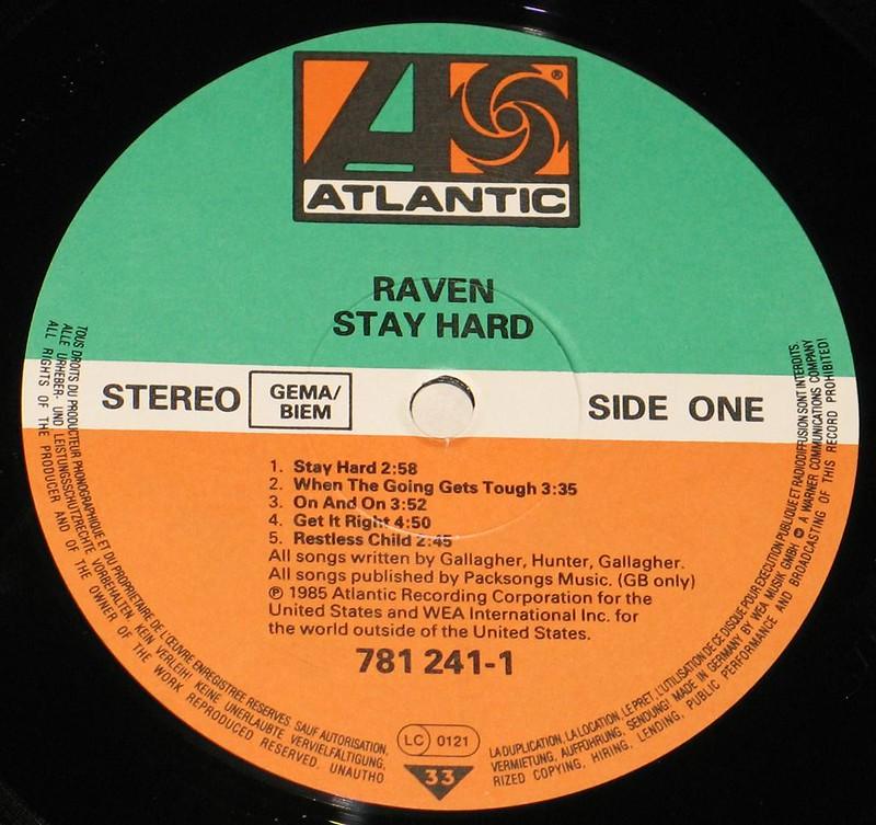 "RAVEN STAY HARD NWOBHM 12"" vinyl LP"
