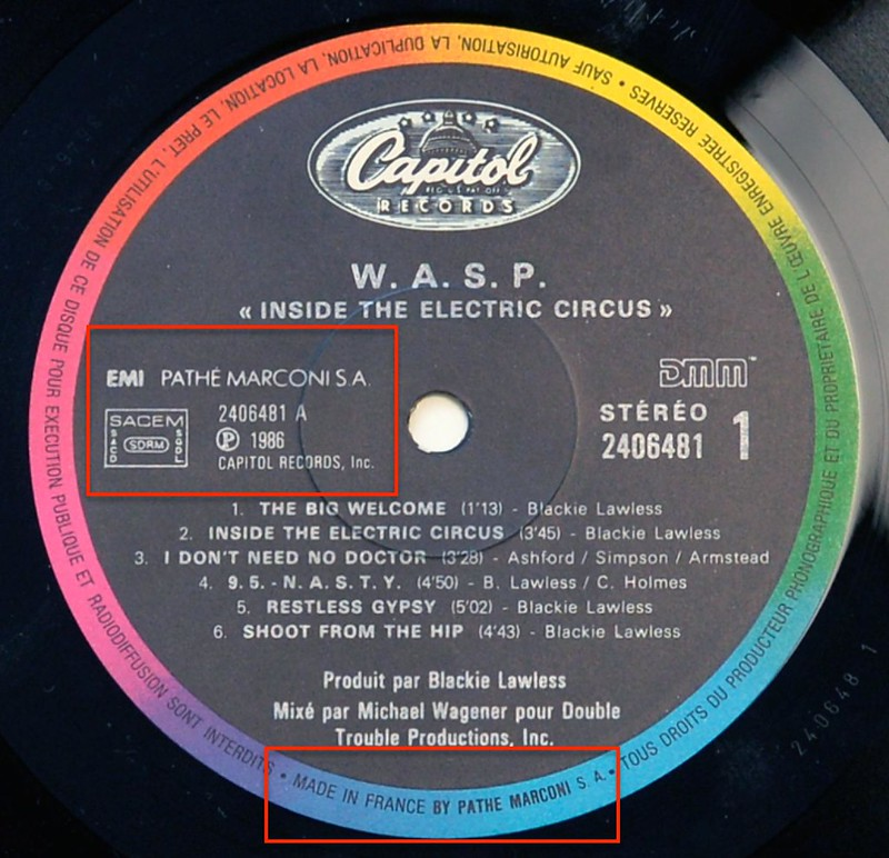 A0517 WASP Inside the Electric Circus Label