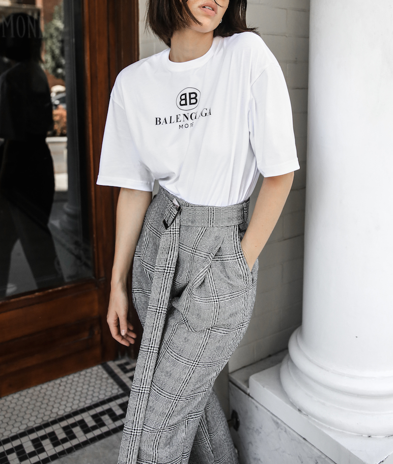 balenciaga logo tee t shirt street style fashion blogger minimal Ellery Kool Aid check pants staud bucket bag pointed flats Instagram (3 of 6)
