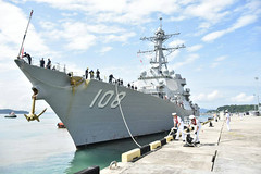 KOTA KINABALU, Malaysia (Feb. 21, 2018) With the assistance of Royal Malaysian Navy sailors, the guided-missile destroyer USS Wayne E. Meyer (DDG 108) comes alongside the pier at Kota Kinabalu Naval Base. Wayne E. Meyer is visiting as part of a deployment to the region with the Carl Vinson Strike Group. (Royal Malaysian Navy photo)