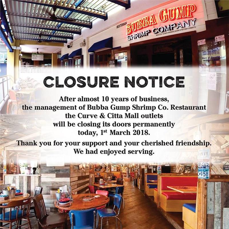 bubba gump closing