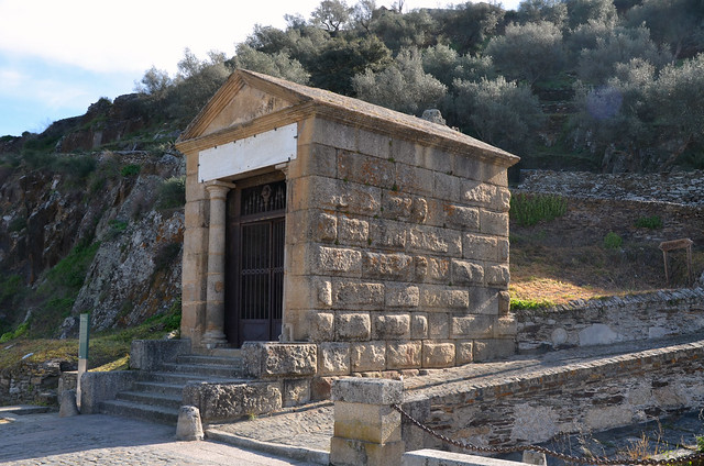 The small votive temple, distyle in antis, of Tuscan order with a single cella, built by a man named Caius Julius Lacer, and dedicated to the Roman emperor Trajan and the Roman Gods, Spain