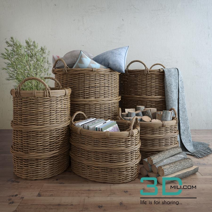 48 basket with decor 3d model 3d mili download 3d for Decoration 3d model free download