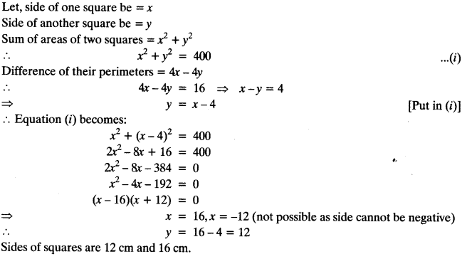 Quadratic Equations Chapter Wise Important Questions Class 10 Mathematics 94