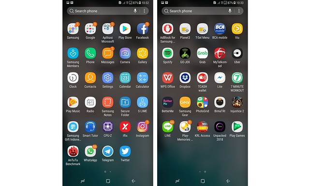 Tampilan antarmuka menu pada Galaxy A8 Plus (Liputan6.com/ Agustin Setyo Wardani)