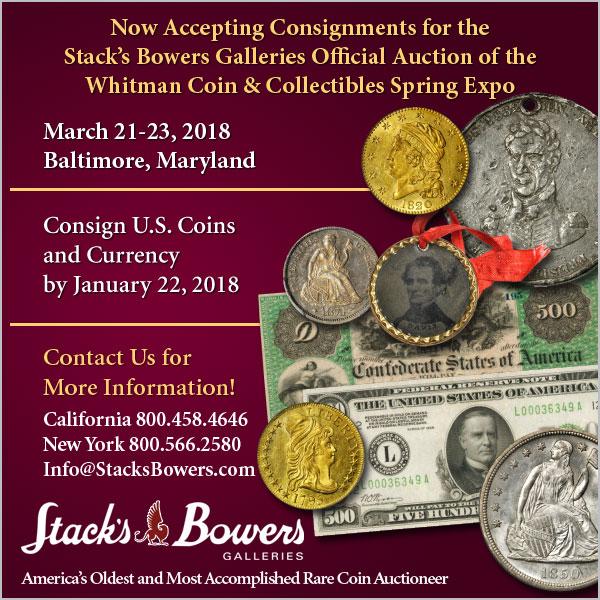 Stacks-Bowers E-Sylum ad 2018-01-14 consign