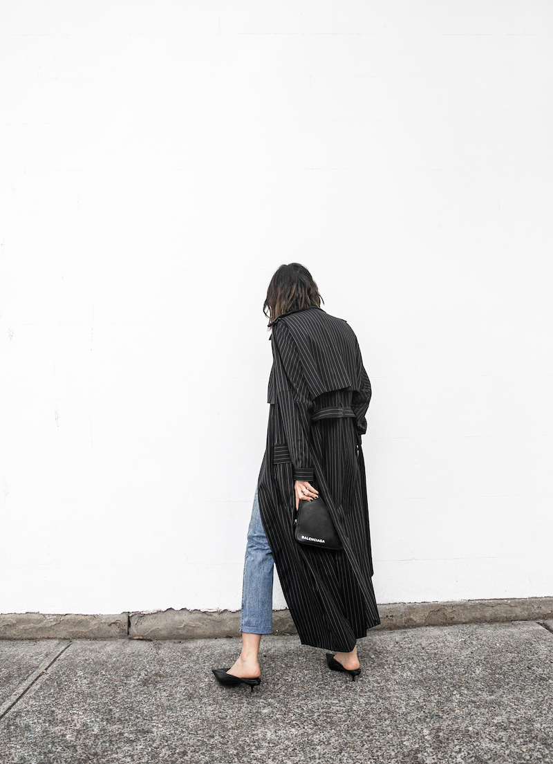 minimal street style fashion blogger striped trench coat vintage denim Balenciaga knife mules triangle clutch Instagram (7 of 11)