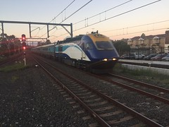 CountryLink XPT evening arrival into Sydney (passing Concord West on the Main Northern Line)