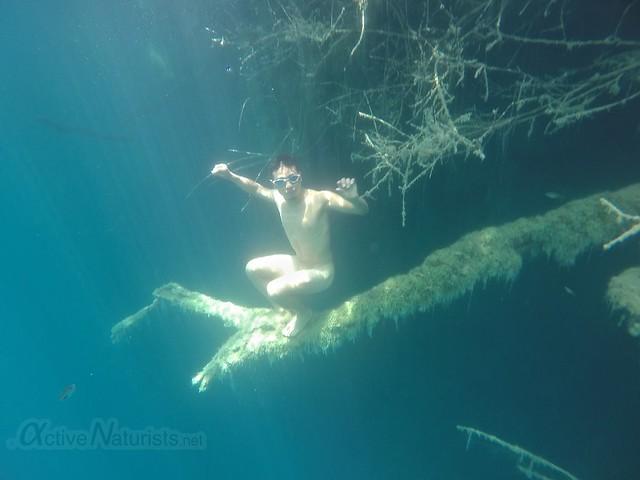 naturist underwater 0008 Cenote Azul, Chetumal, Quintana-Roo, Mexico