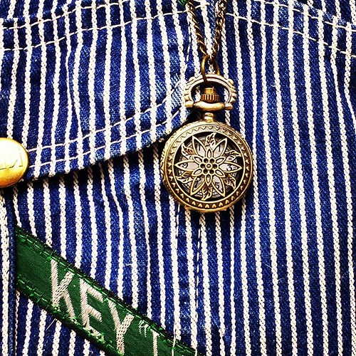 Pendant watch that I had forgotten that I owned. #watch #pendant #overalls #vintage #Key #HickoryStripe #dungarees #biboveralls