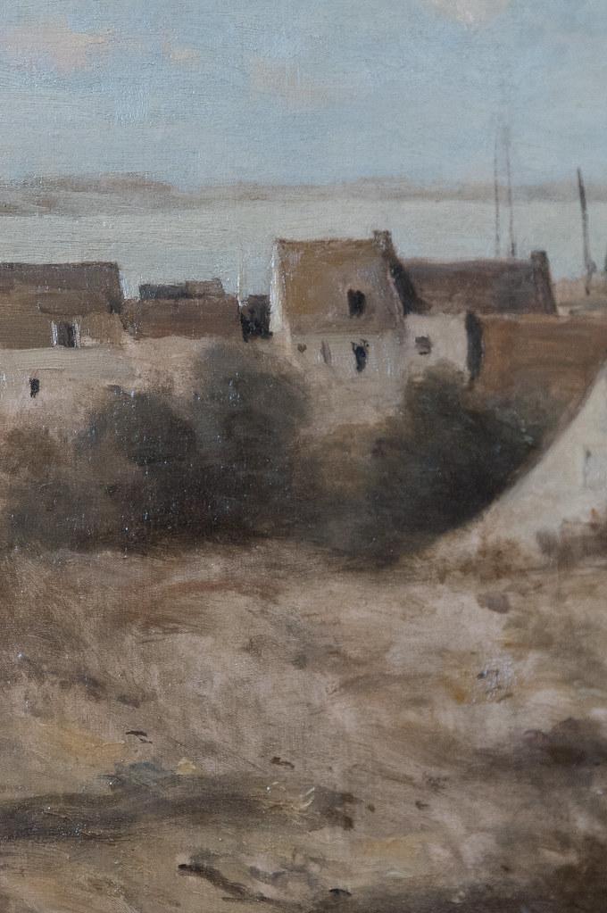 """Camille Corot (1796-1875) """"Entrée de village, dit aussi village au bord de mer"""" dét. (c. 1865-1875, huile sur toile) — musée du Louvre (Paris, France)"""