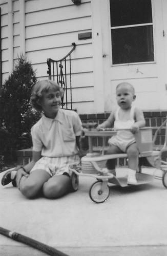 Marilyn babysitting Gary Myrand, ca. 1947