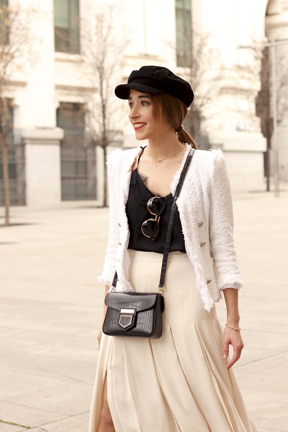 midi blush skirt white tweed jacket givenchy bicolor uterqüe boots winter outfit14