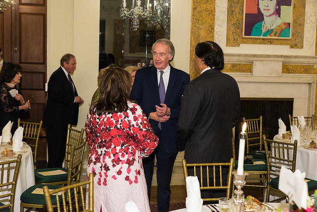 Senator Markey, Ray and Shaista Mahmood - 2017 Tribute Dinner at the Residence of the British Ambassador