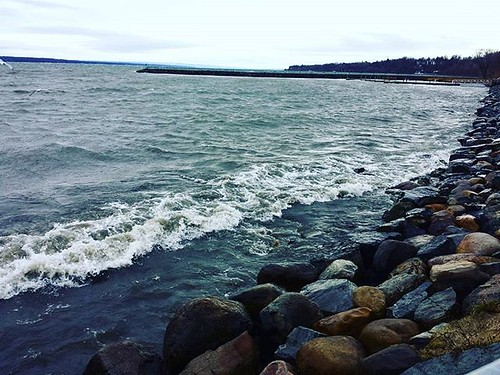 Waves rolling in. The wind is coming up the entire 40-mile length of the lake. Brrr! #senecalake #fingerlakes #genevany