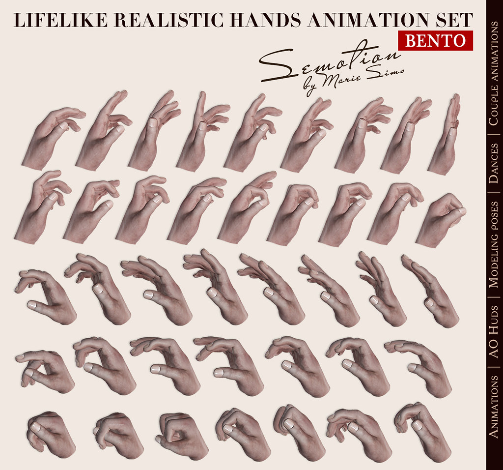 SEmotion LifeLike Realistic Hands Set 2 -10 bento male hands animations - TeleportHub.com Live!