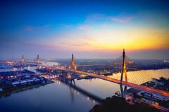 Beautiful bridge and river landscapes bird's eye view during sunset, Bangkok Thailand